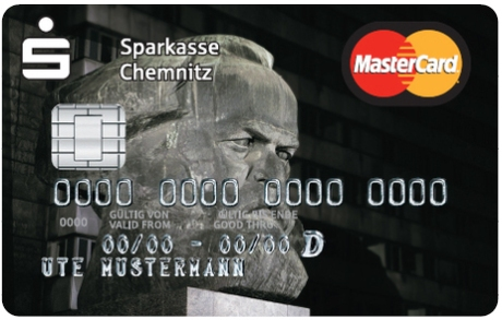MasterCard issued by Sparkasse Chemnitz using image of Karl Marx