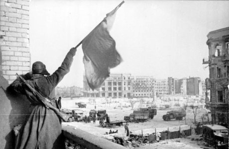 Victorious Soviet Soldier at Stalingrad