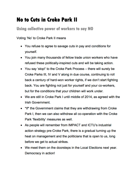 No to Cuts in Croke Park II - What Voting No Means