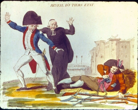 """The Awakening of the Third Estate."" On the ground, the figure representing the Third Estate awakens from the ""nightmare of the Old Regime,"" and reaches for arms, while the Nobility and the Clergy retreat in alarm. In the background, the destruction of the Bastille and heads paraded on pikes on 14 July 1789 reaffirms that message that a new order is emerging in which the people in arms will play a central role."