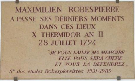 Plaque for Robespierre Concergerie Paris