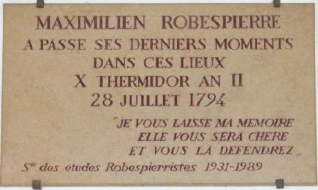 Plaque for Robespierre Concergerie Paris